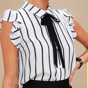 NEW Lulus striped button down tie blouse